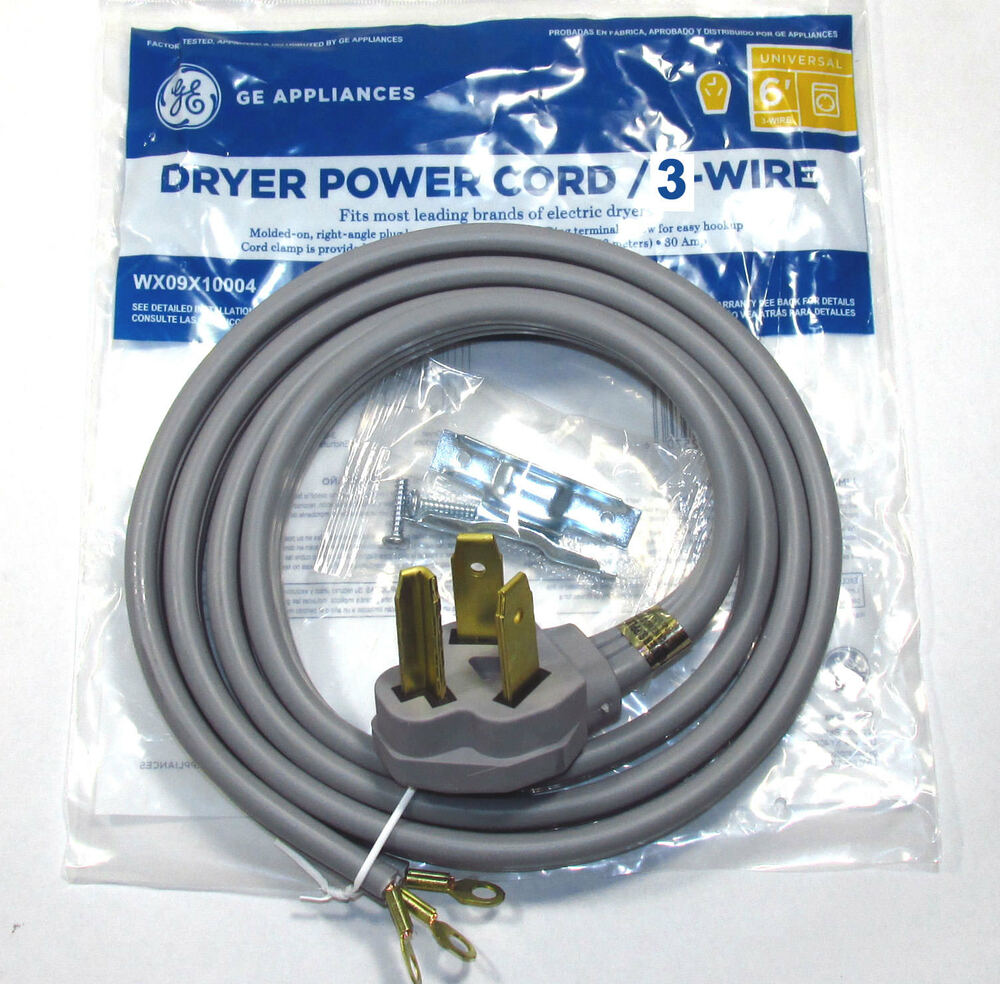 hight resolution of 6ft 30amp 3 wire dryer power cord for whirlpool dryers ebay