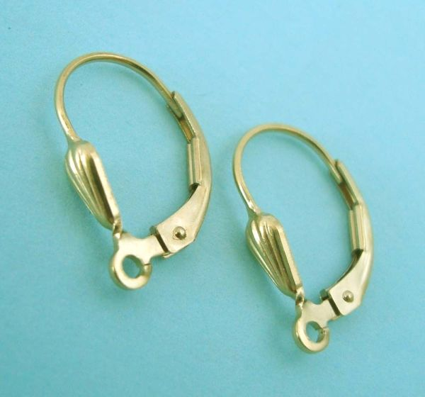 6x Seashell 14k Yellow Gold Filled Lever Earring Ear Wire With Open Ring E09g