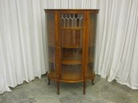 Antique China Curio Cabinet Hutch w Leaded Glass Panel ...