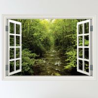 Full Colour Forest Woodland River Window Scene Wall ...