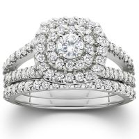 1 1/10ct Cushion Halo Diamond Engagement Wedding Ring Set