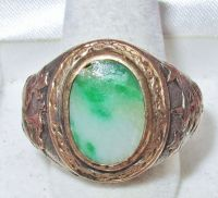 Antique Chinese Silver & Gold Ring w/ 14mm Green JADEITE ...