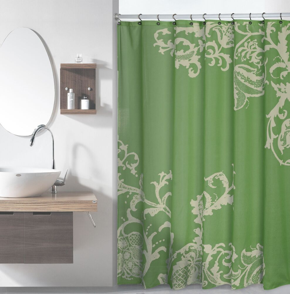 Sage Green Luxury Fabric Shower Curtain with Light Green Floral Pattern  eBay