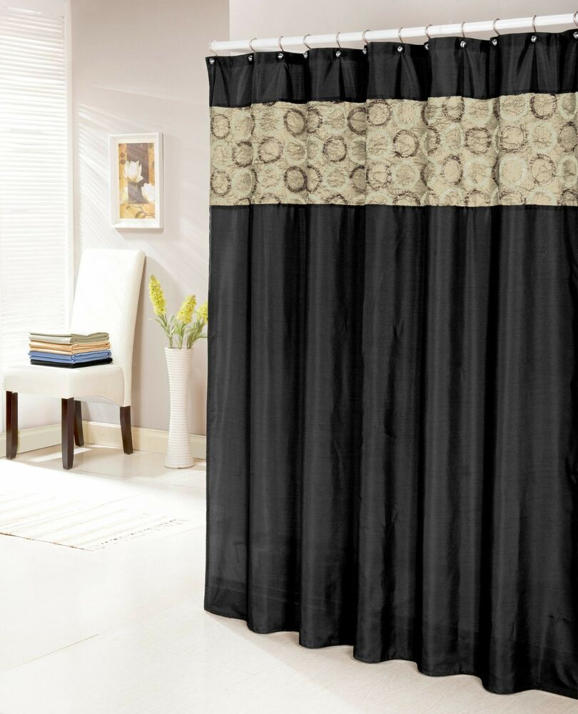 Black Faux Silk Shower Curtain  14 Textured and Circle