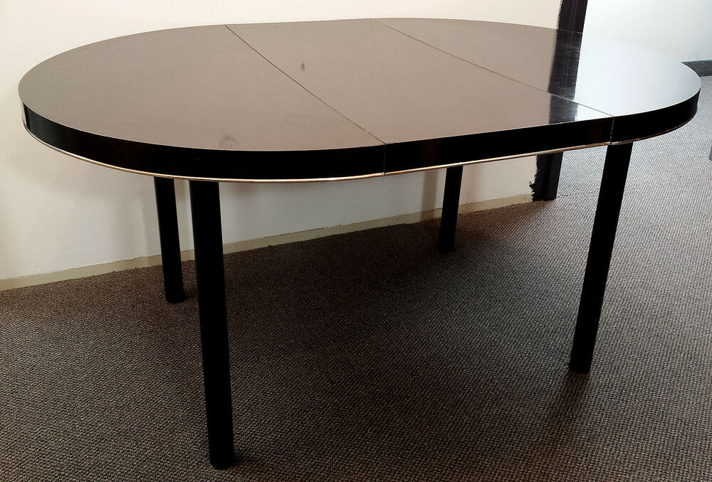 Piano Black Ebony Brass Laminate Steel Legs Dining Room