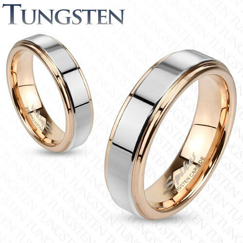 MensWomens Tungsten Rose GoldSilver Band RingWedding