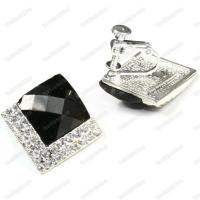 CLIP ON screw ART DECO crystal 2cm big SQUARE EARRINGS ...