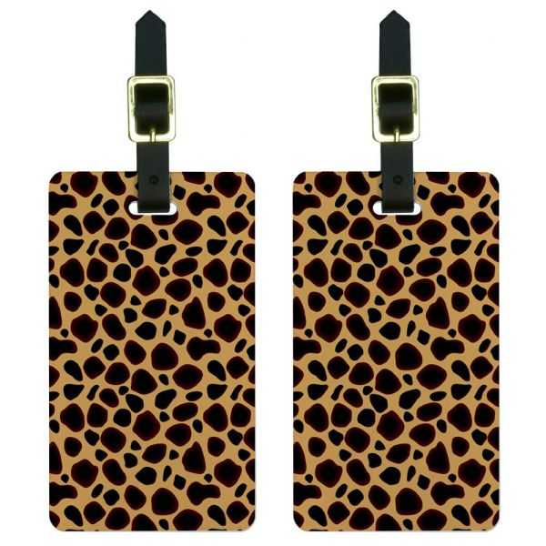 Cheetah Print Luggage Suitcase Carry- Id Tags Set Of 2