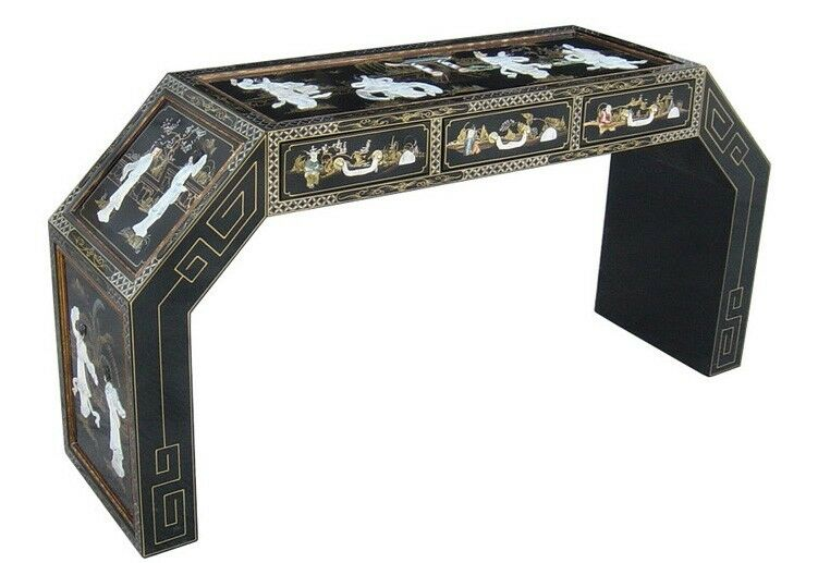 Oriental Desk furniture black lacquer mother of pearl with
