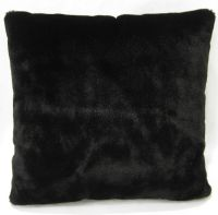 Fm847a Black Plain Soft Faux Fur Cushion Cover/Pillow Case