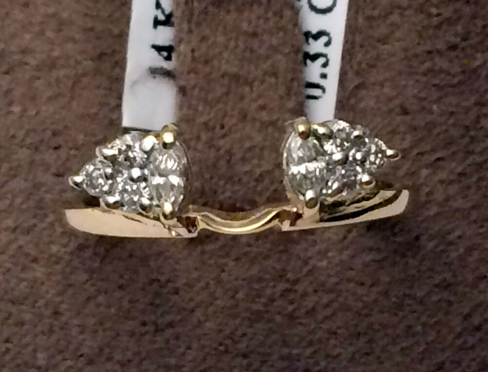 14k Yellow Gold Diamonds Marquise Solitaire Wrap Ring