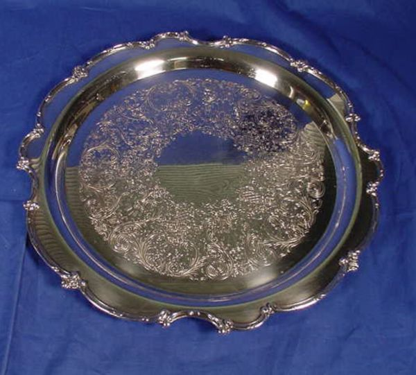 """Vintage 15"""" Silver Plated Serving Tray"""
