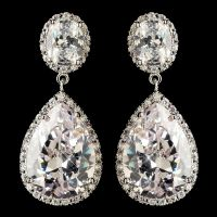 Bridal Large Clear Cubic Zirconia Teardrop Drop Earrings