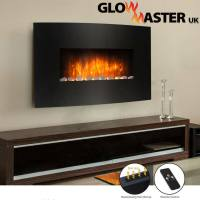 WALL MOUNTED CURVED GLASS ELECTRIC FIREPLACE FIRE HEATER ...