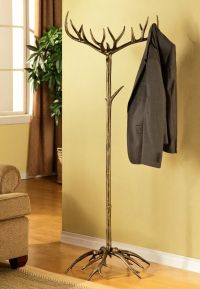 Antler Coat Hat Rack Tree Stand Metal Rustic Deer Buck