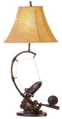 Fly Rod Trout Fish Table Lamp Fishing Rustic Cabin Lake ...