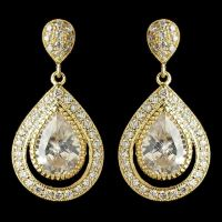 Gold CZ Pear Cut Crystal Teardrop Drop Bridal Earrings