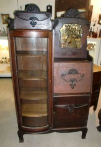 Antique Old Finish Oak Side by Side Secretary Bookcase ...