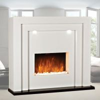 Electric Fire Fireplace Led Lights Free Standing White ...