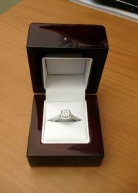 Cherry Wood & Off White Leather ENGAGEMENT Ring Box Great ...