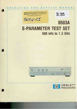 HPAgilent 8503A SParameter Test Set Operating & Service