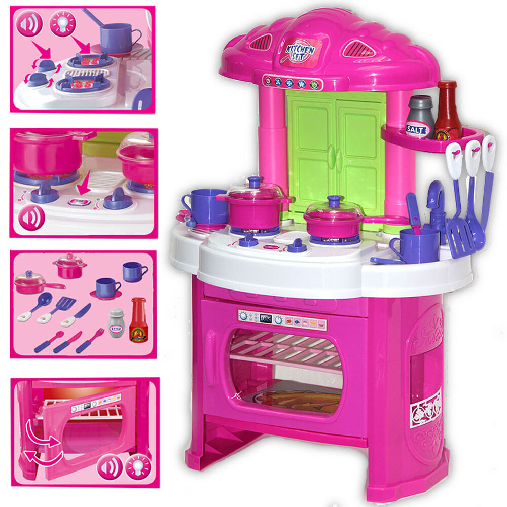 toy kitchen sets cabinet drawer pulls kids play light up sounds set role pretend cooking details about dining baking fun