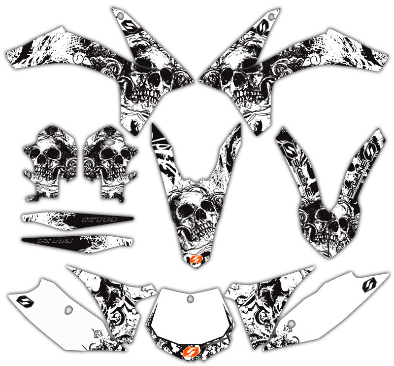 SKYLINE MX BONE CRUSHER MOTOCROSS GRAPHICS KIT KTM EXC 01
