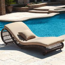 Outdoor Patio Furniture Set Of 2 Brown Wicker Pool Chaise