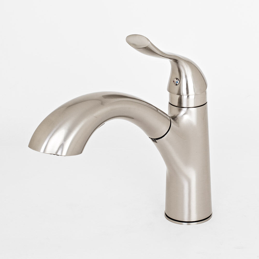Contemporary Brushed Nickel Kitchen Sink Faucet Pull Out