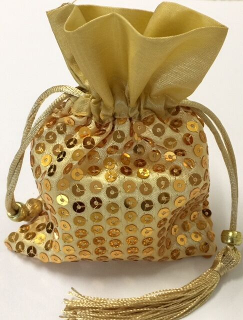 12 Gold Sequin Satin Favor Bags Wedding Birthday Party