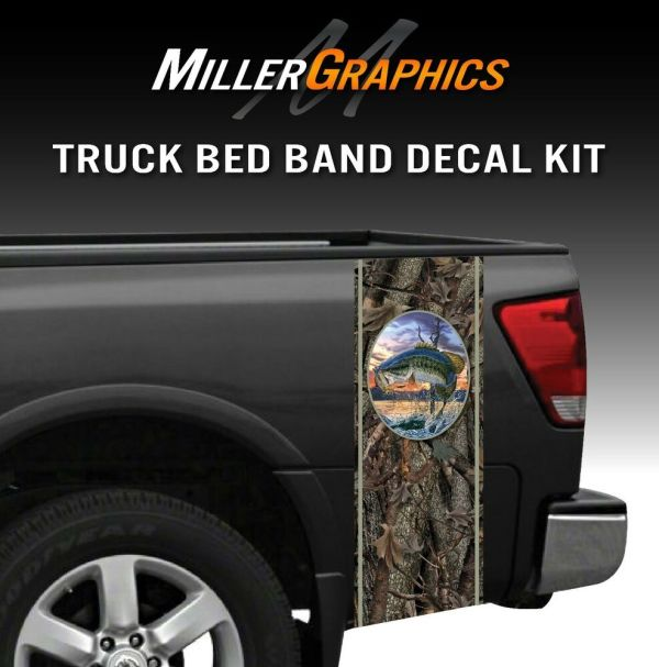 Bass Jumping Fishing Camo Truck Bed Band Decal Graphic