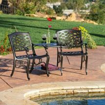 Outdoor Patio Furniture Cast Aluminum 2-seater Set Bench