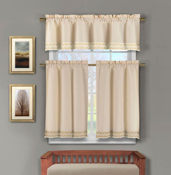 3 Linen Kitchen Window Curtain Set Crochet Taupe And Accent Free Hanger