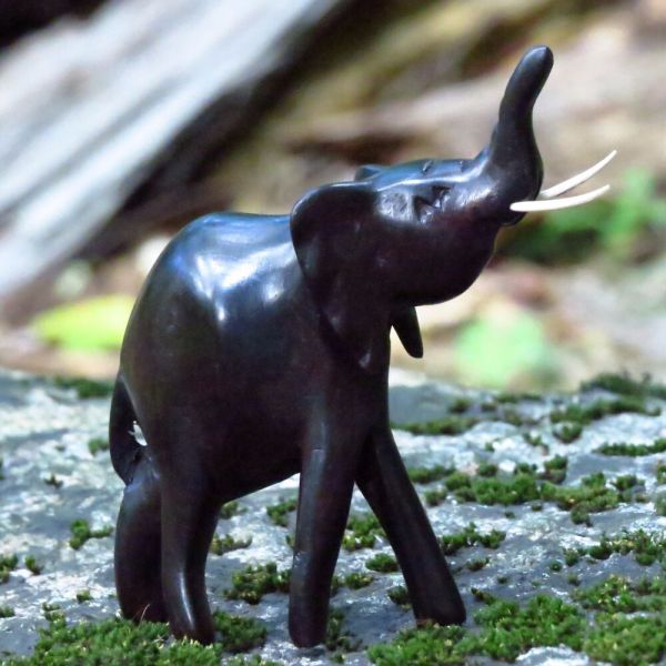 African Hand Carved Ebony Wood Raised Trunk Elephant Statue
