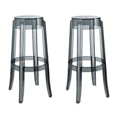 Ghost Bar Chair Stacking Plastic Chairs 2 X Charles Style Stool In Smoke Finish Ebay Details About
