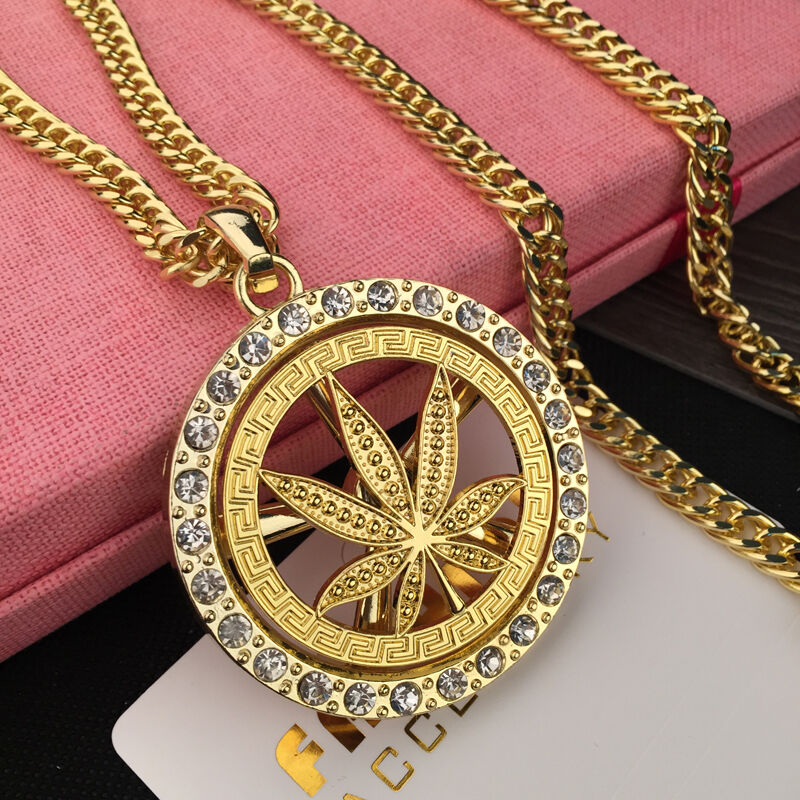 New Mens Fashion Weed Hip Hop Chain Iced Out Marijuana