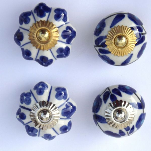 Choice Of 4 - Blue White Ceramic Porcelain Door Knob