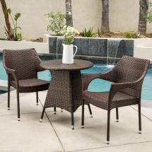 Outdoor Patio 3pc Multibrown -weather Wicker Bistro Set