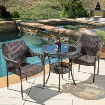 Outdoor Patio 3pc Multibrown -weather Wicker Glass