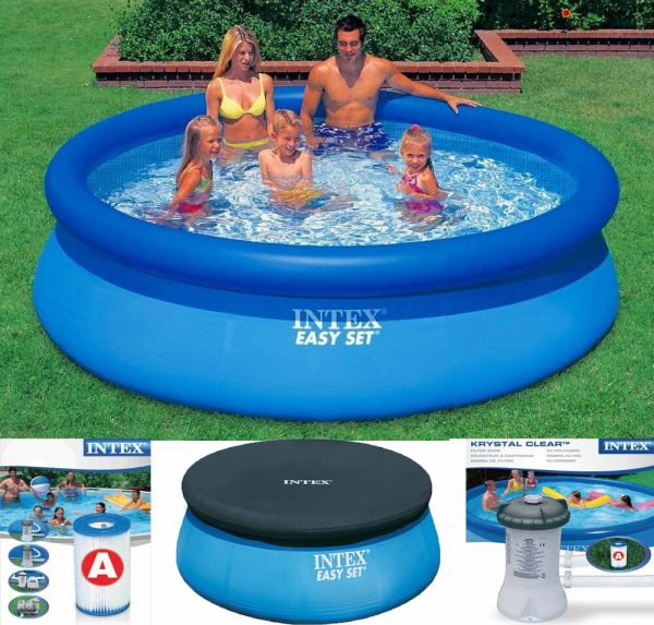 Intex Easy Set Inflatable Swimming Paddling Pool 6 8 10 Ft Cover Pump