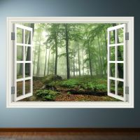 Window Frame Full Colour Forest wall sticker decal ...