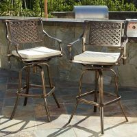Set of 2 Outdoor Patio Furniture Cast Aluminum Swivel Bar ...