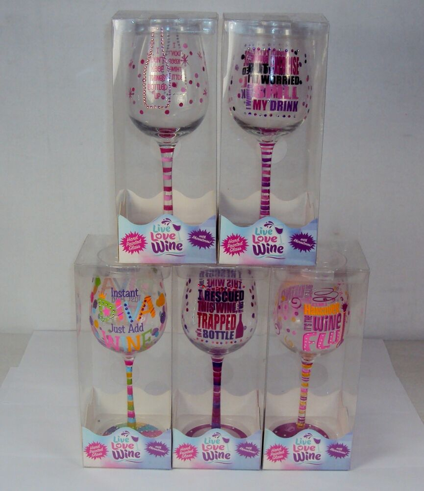 Novelty Wine Glass  Clever Sayings Hand Painted On Glass wRhinestones  eBay