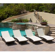 Set Of 4 Outdoor Patio Pool Adjustable Wicker Chaise