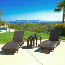 Outdoor Patio Furniture 5pc Wicker Adjustable Chaise