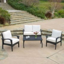 Outdoor Patio Furniture Pe Wicker Luxury 4pcs Sofa Seating