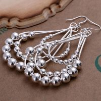 925 Sterling Silver Chandelier Beads Bali Hoop Pierced