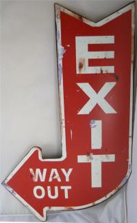 Vintage Looking EXIT WAY OUT Sign with Curved Arrow Design