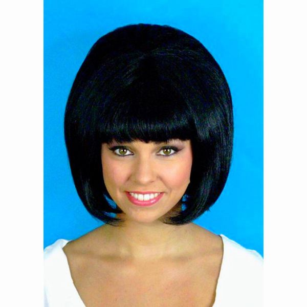 60' Beehive Hairspray Black Hair Wig Women' Fancy Dress