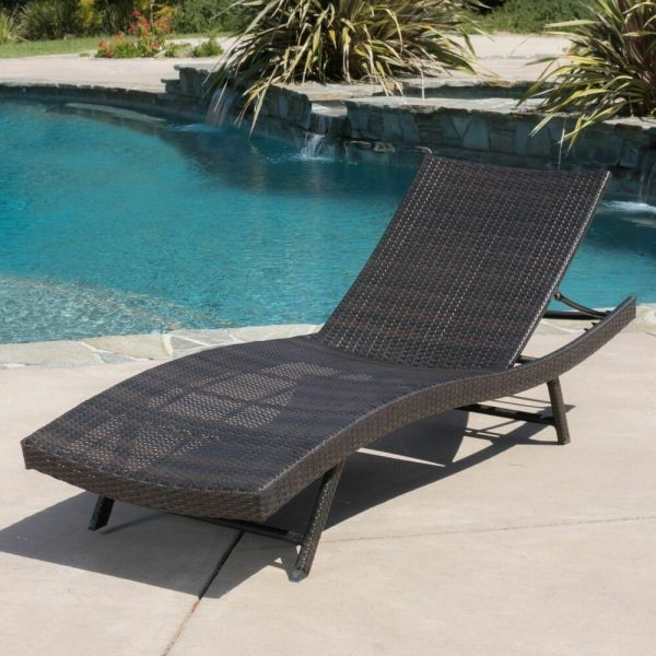 Outdoor Patio Single Brown Pe Wicker Adjustable Chaise Lounge Chair